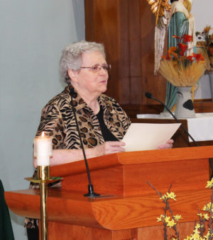Ursuline Sister Pat Rhoten introduced the jubilarians who received a gift form Bishop Medley.