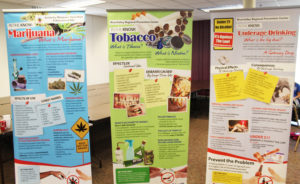 Some of the banners on display in Conference Room A offered information on marijuana, tobacco use and underage drinking.