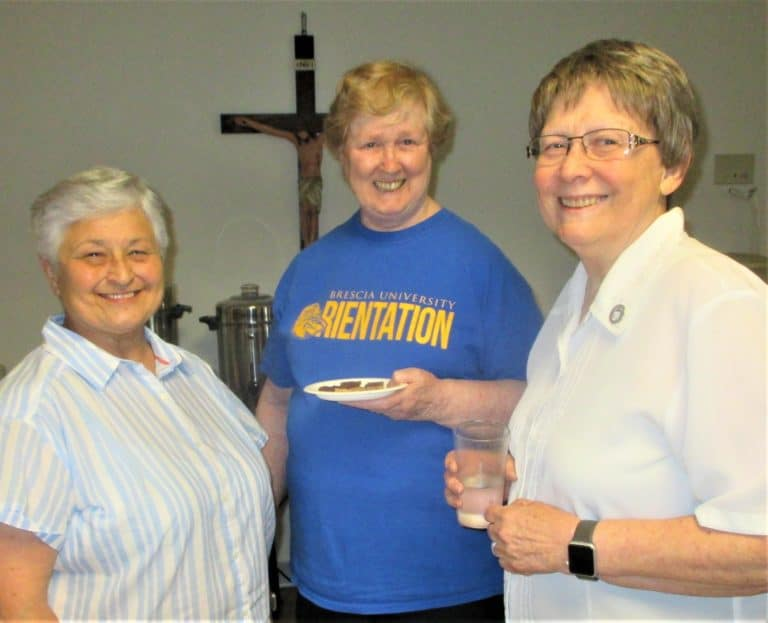 An afternoon snack hits the spot for Sister Carol Shively, left, Sister Helena Fischer, center, and Sister Amelia Stenger.