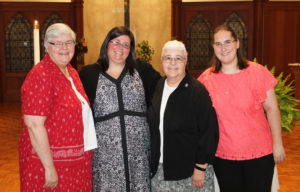Sister Joan Hornick, ASC, left, was Sister Stephany's director in the novitiate program she attended in St. Louis. Next to Sister Stephany is Ursuline Sister Ann McGrew, the director of Novices at Maple Mount. At right is Jenny Sellaro, a novice with the Adorers of the Precious Blood, one of Sister Stephany's classmates in the St. Louis novitiate.
