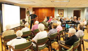 Father Jerry Riney spoke to a full room of Ursuline Sisters on April 28 in the St Ursula Community Room.