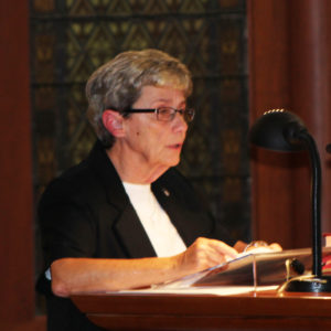 Sister Judith Nell Riney, a new Council member, leads a Litany of Saint Angela Merici.